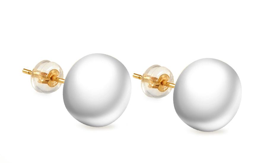 Zlaté náušnice bílé perly PE188
