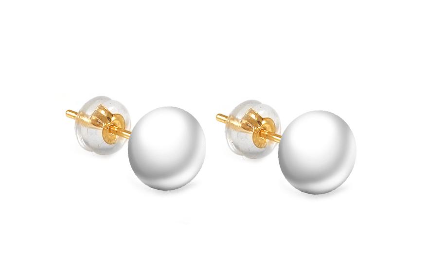 Zlaté náušnice bílé perly PE191