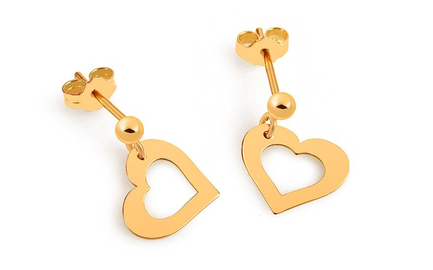 1e7ba5591 Zlaté náušnice Celebrity Hearts 2, pro ženy (IZ8067)   iZlato24.cz