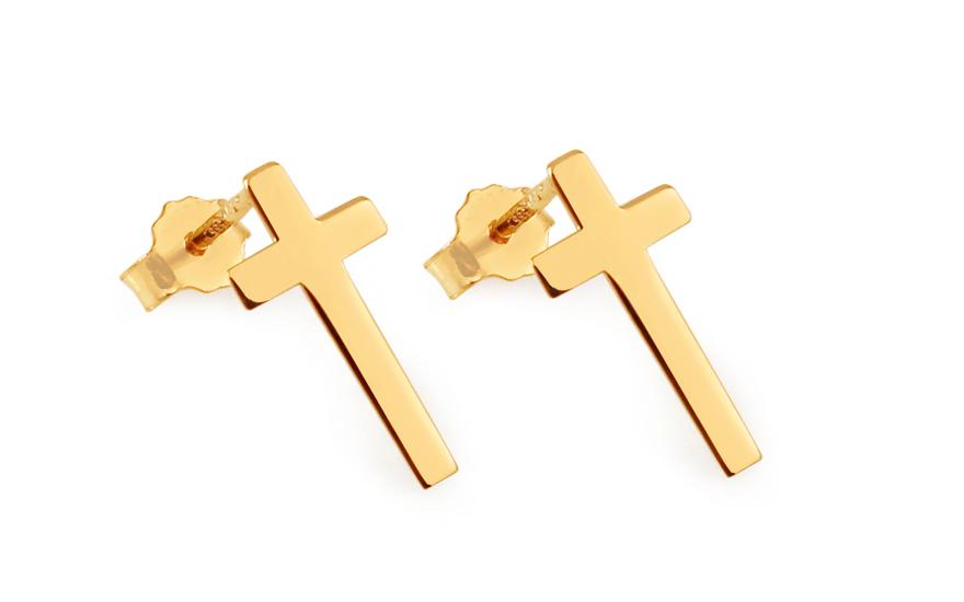 Zlaté náušnice Celebrity křížky IZ8989M