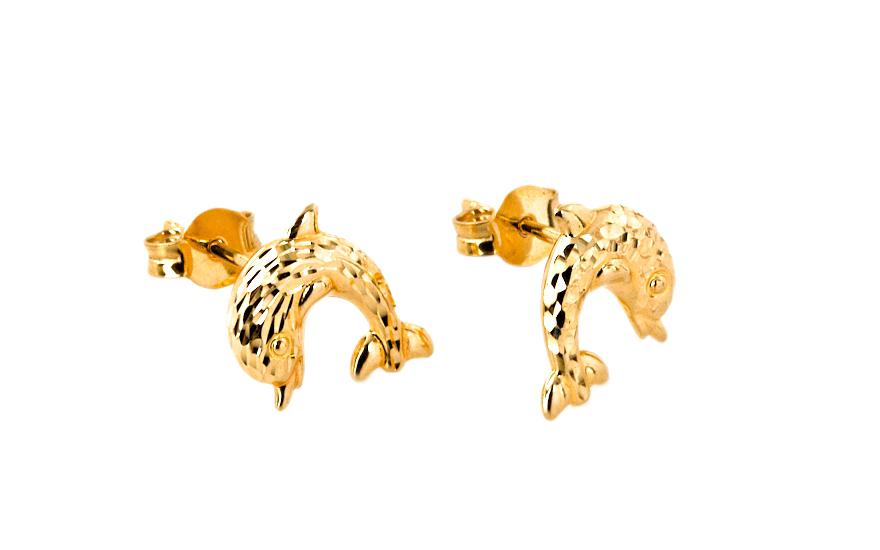 Zlaté náušnice Delfín IZ7542