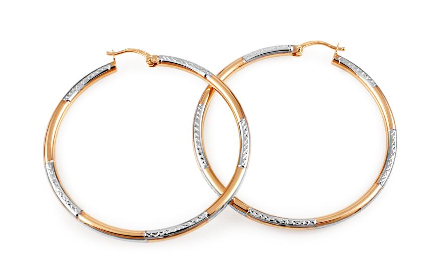 Zlaté náušnice dvoubarevné kruhy 4,5 cm IZ11141