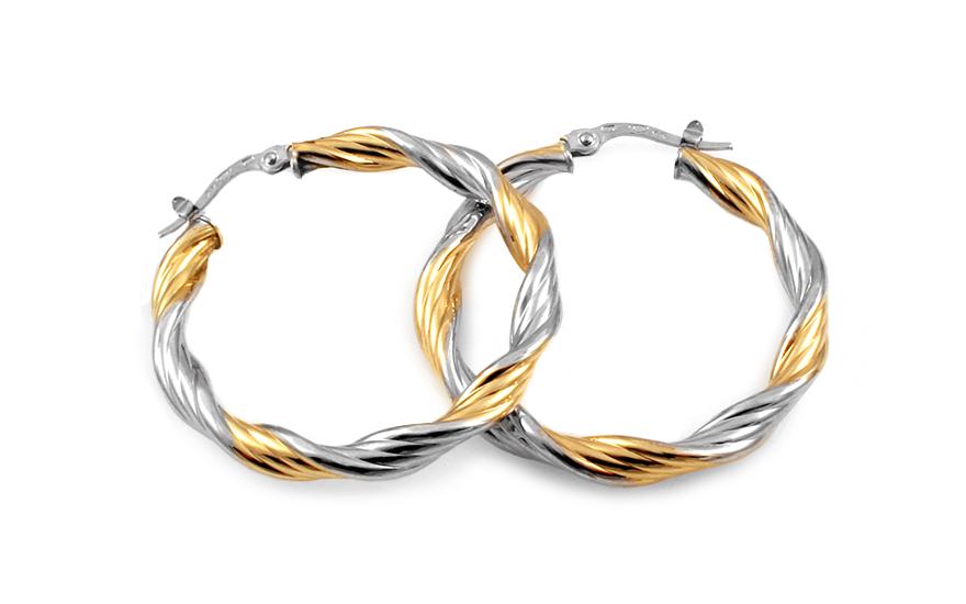 Zlaté náušnice dvoubarevné točené kruhy 3,2 cm IZ10295