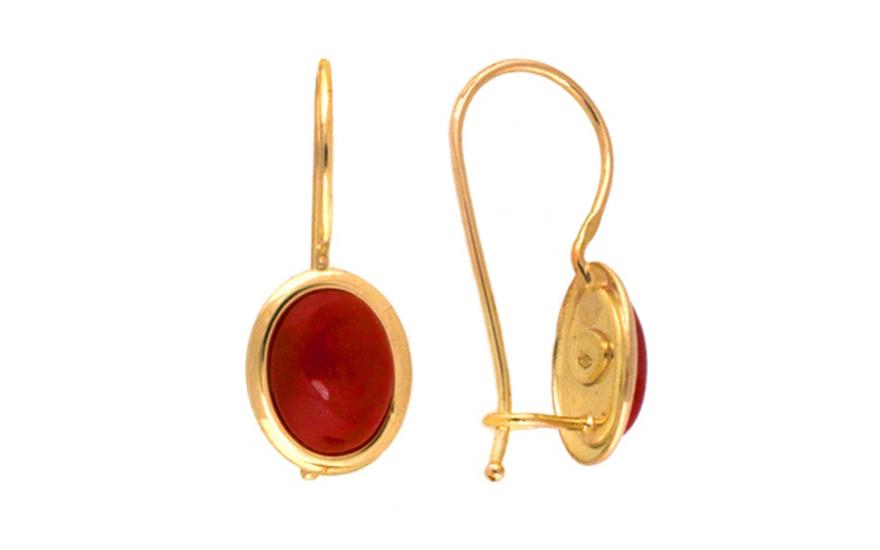 Zlaté náušnice elipsy s korálem IZ7599