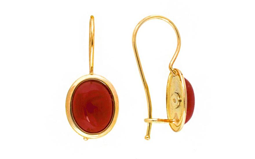 Zlaté náušnice elipsy s přírodním korálem IZ7598