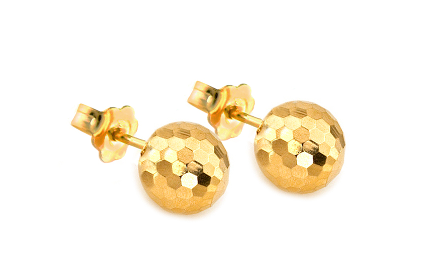 Zlaté náušnice gravírované kuličky IZ8449