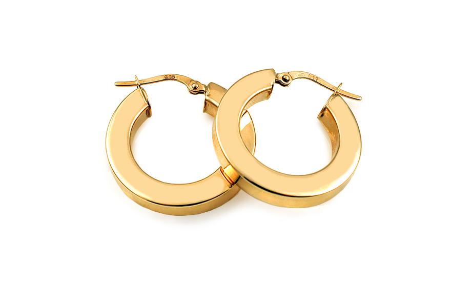 Zlaté náušnice hranaté kruhy 2,3 cm IZ10197