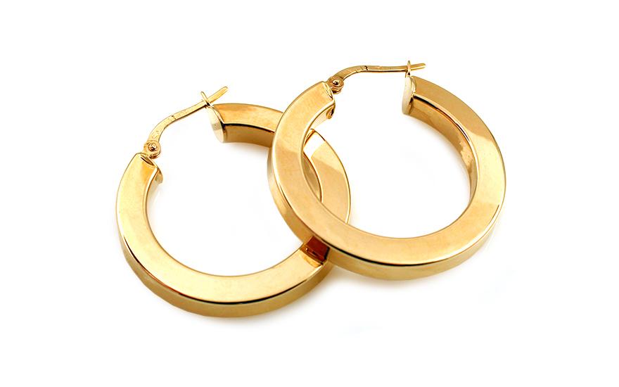 Zlaté náušnice hranaté kruhy 3 cm IZ10198