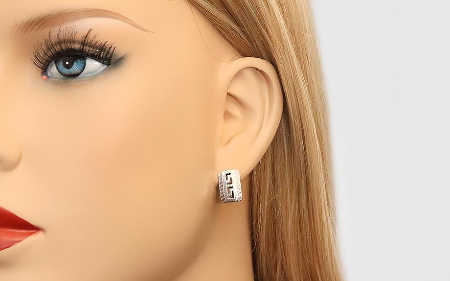 Zlaté náušnice k uchu bílé ANTIC IZ4276
