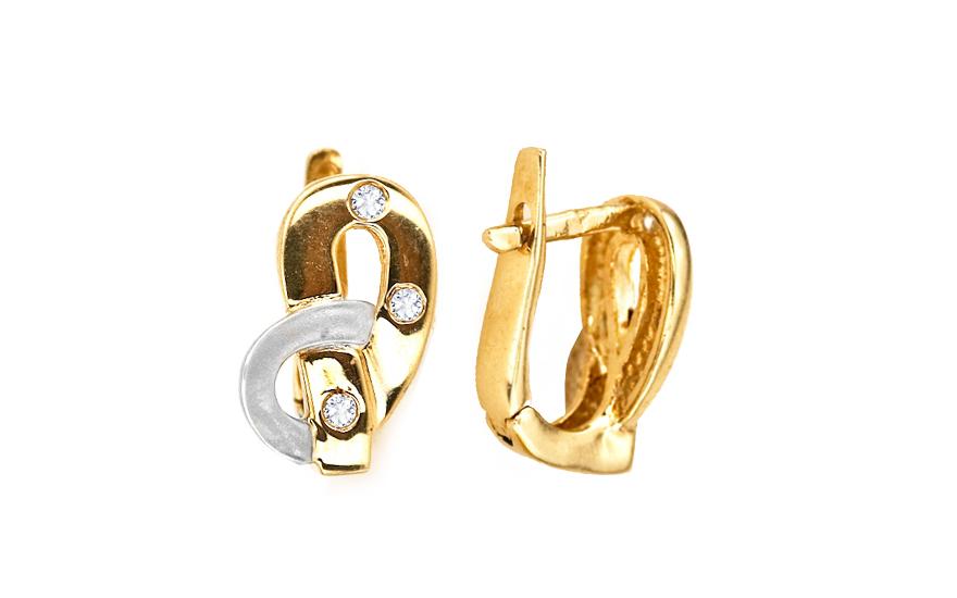 Zlaté náušnice k uchu s kamínky dvoubarevné IZKA286