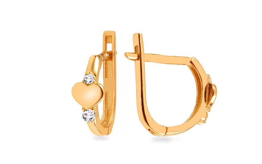 Zlaté náušnice k uchu srdíčka se zirkony IZ13491