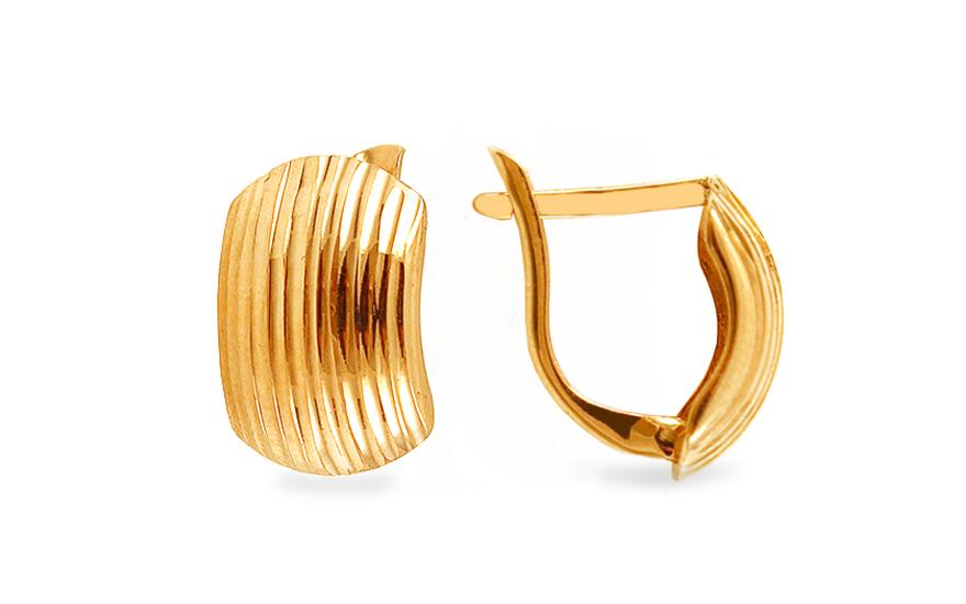 Zlaté náušnice k uchu třpytivé s proužky IZ5636