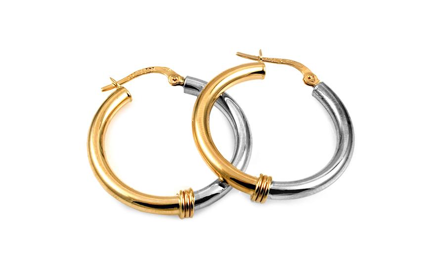 Zlaté náušnice kombinované kruhy 2,7 cm IZ10283