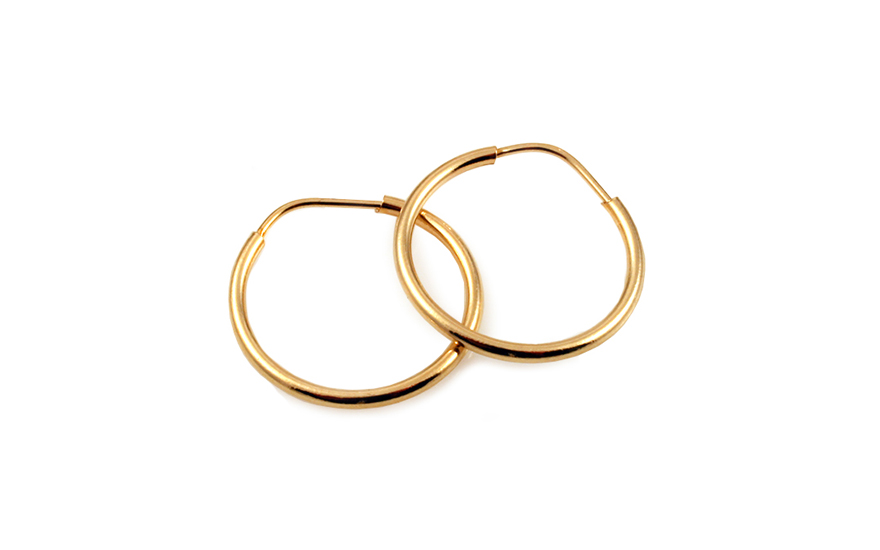 Zlaté náušnice kroužky hladké 1,4 cm IZ10178