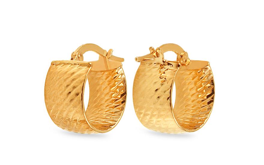 Zlaté náušnice kroužky s gravírováním 1,4 cm IZ13163