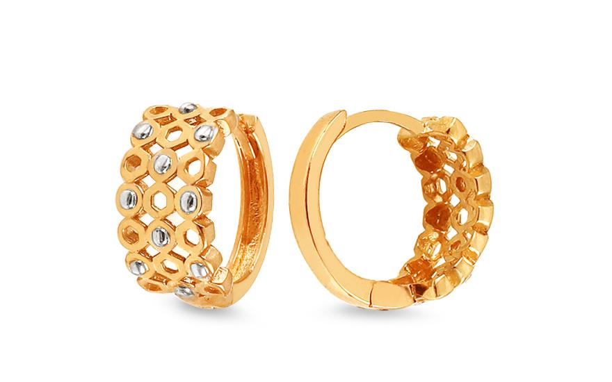 Zlaté náušnice kroužky se vzorem 1,4 cm IZ12645