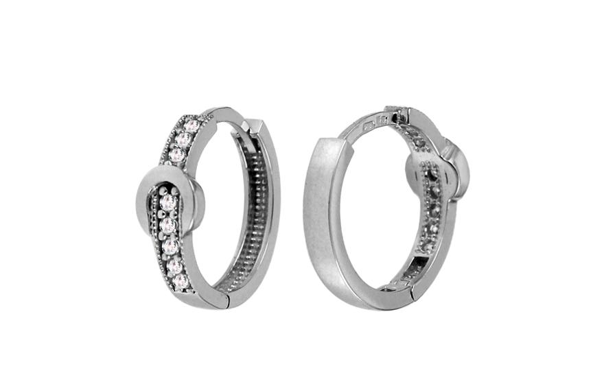 Zlaté náušnice kroužky se zirkony 1,4 cm IZ10823A