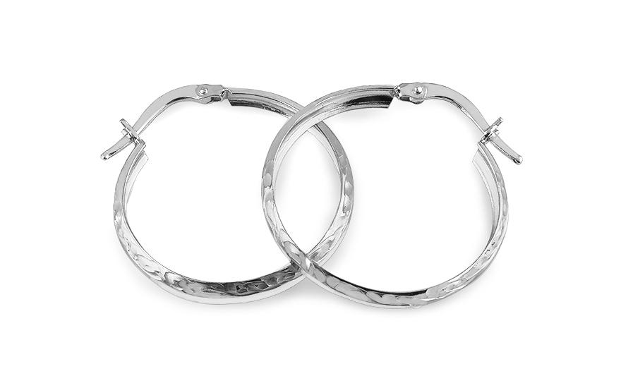 Zlaté náušnice kruhy 2,5 cm zdobené bílé IZ5889