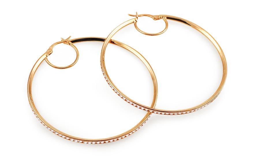 Zlaté náušnice kruhy 4,5 cm s kamínky IZ5768