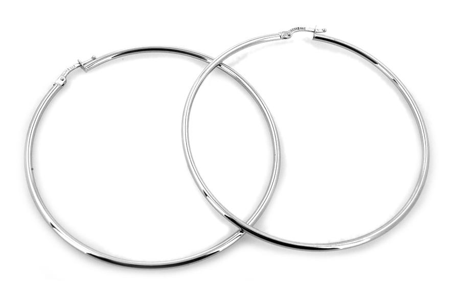 Zlaté náušnice kruhy 6,5 cm white IZ6947