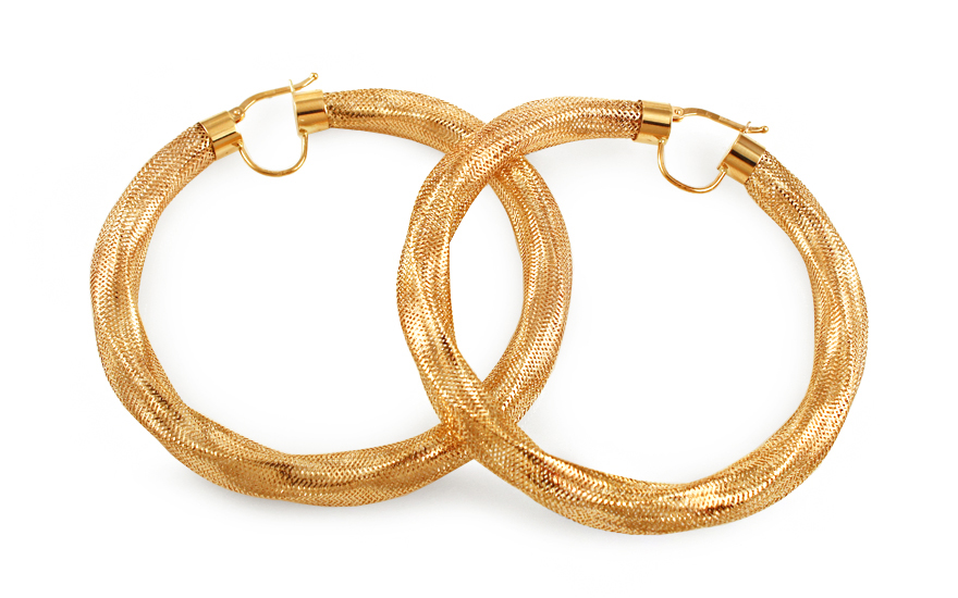 Zlaté náušnice kruhy Flexi 6 cm IZ9986
