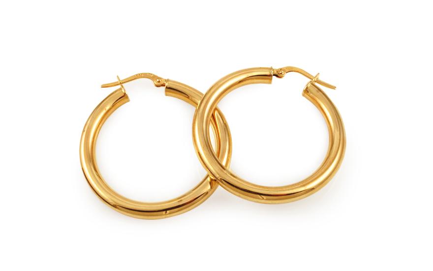 Zlaté náušnice kruhy hladké 3,3 cm IZ10322