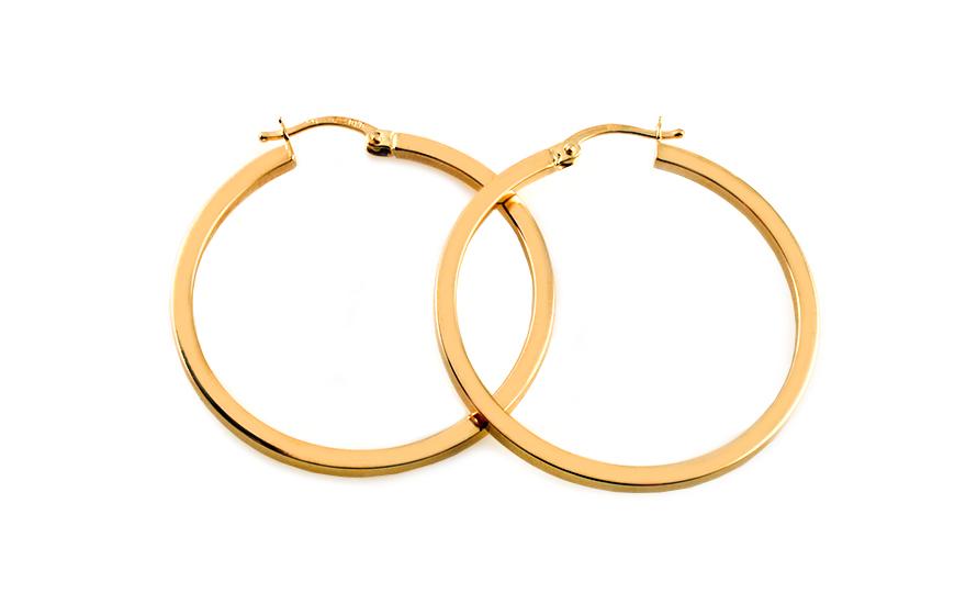 Zlaté náušnice kruhy hladké 3,5 cm IZ5470