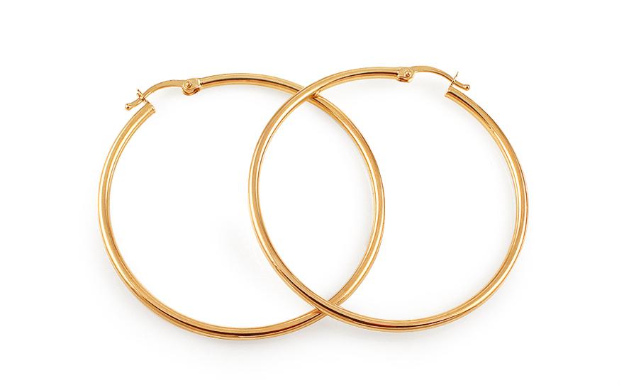 Zlaté náušnice kruhy hladké 4,4 cm IZ11705
