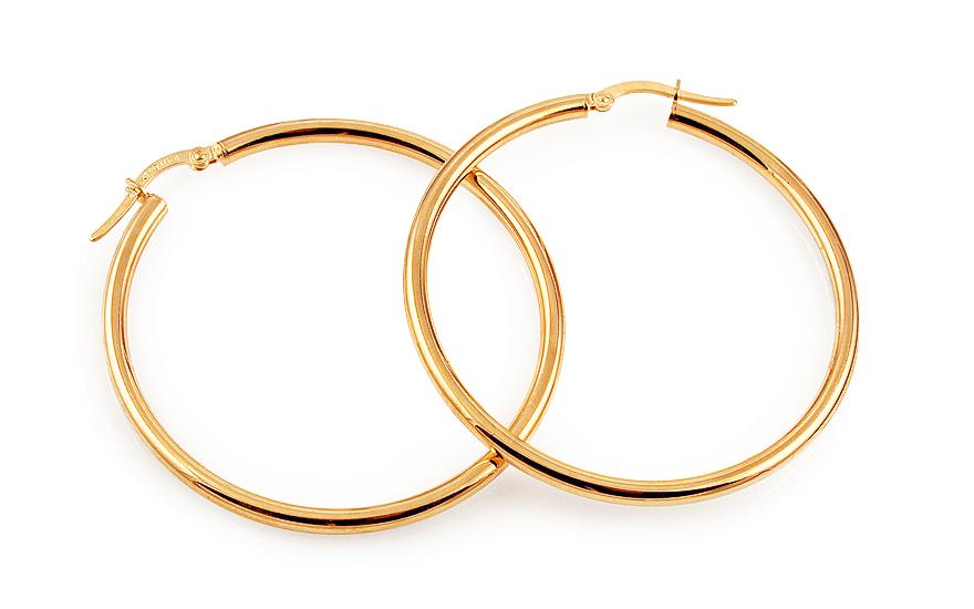 Zlaté náušnice kruhy hladké 4,4 cm IZ11730