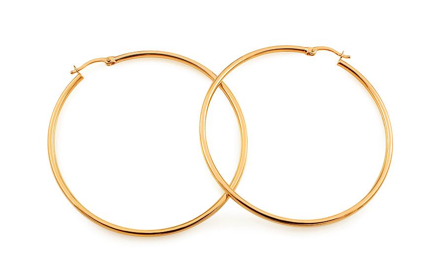 Zlaté náušnice kruhy hladké 5,2 cm IZ10318