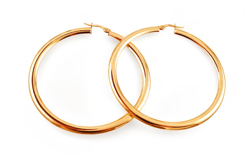 Zlaté náušnice kruhy hladké 5,7 cm IZ12963