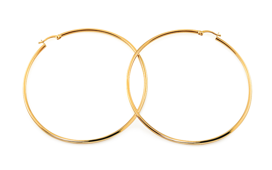 Zlaté náušnice kruhy hladké 6,5 cm IZ11704