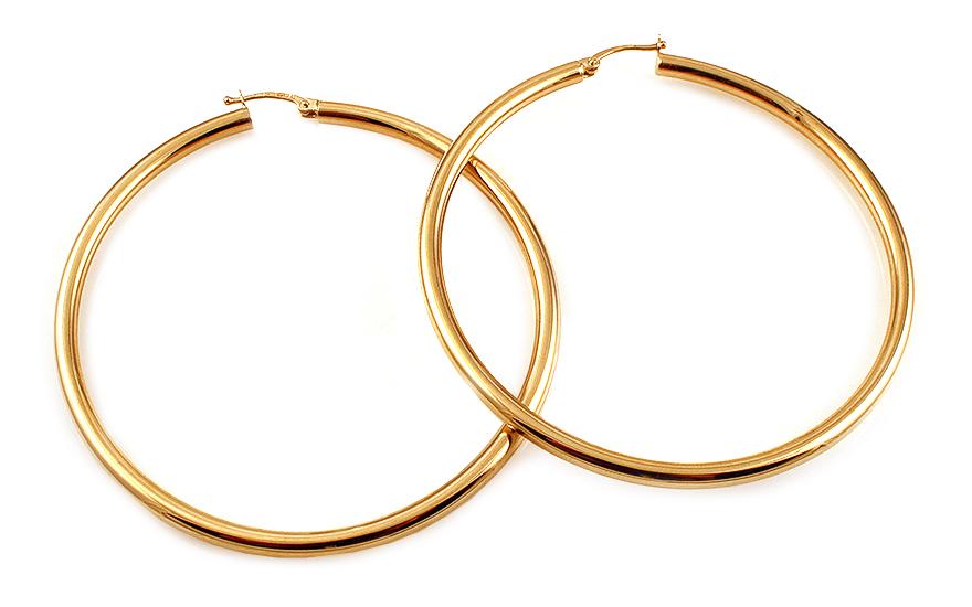 Zlaté náušnice kruhy hladké 6 cm IZ11139
