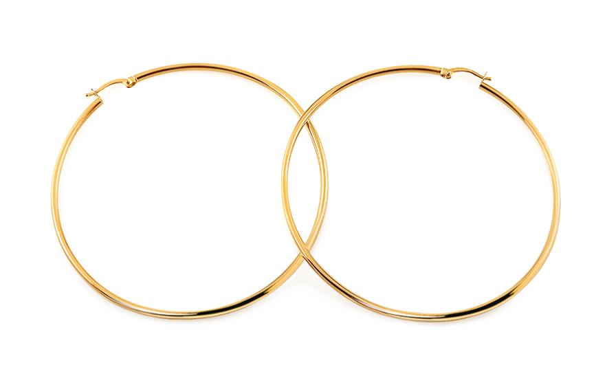 Zlaté náušnice kruhy hladké 7,3 cm IZ11704