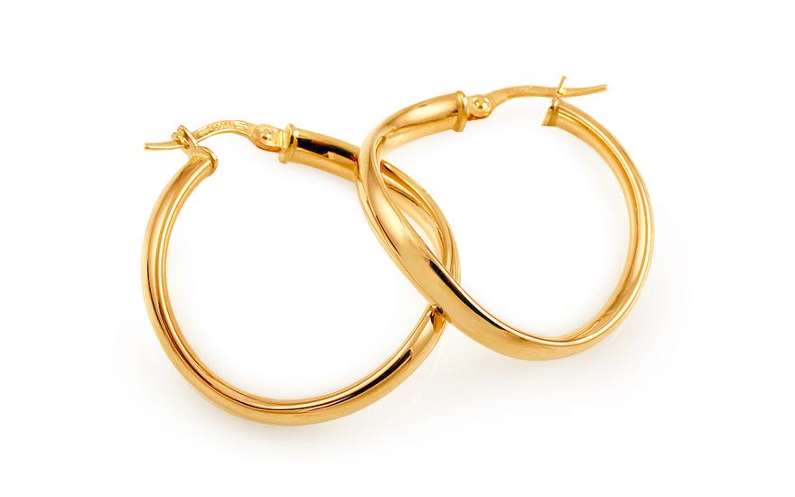 Zlaté náušnice kruhy hladké točené 2,8 cm IZ11740