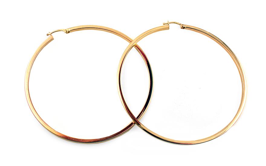 Zlaté náušnice kruhy hranaté 6,3 cm IZ11697