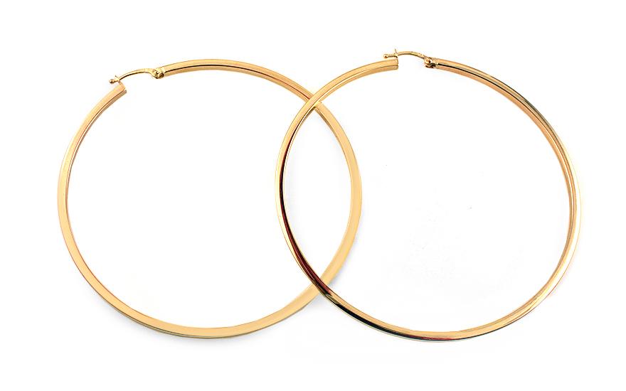 Zlaté náušnice kruhy hranaté 7,2 cm IZ11697