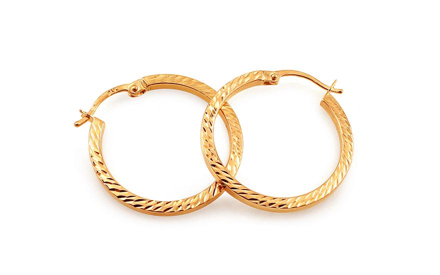 Zlaté náušnice kruhy hranaté s gravírováním 2 cm IZ12643