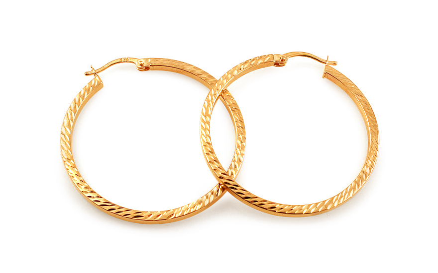 Zlaté náušnice kruhy hranaté s gravírováním 3,5 cm IZ12644