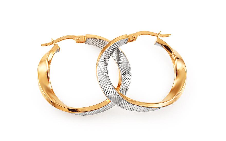 Zlaté náušnice kruhy kombinované točené 2,8 cm IZ11702