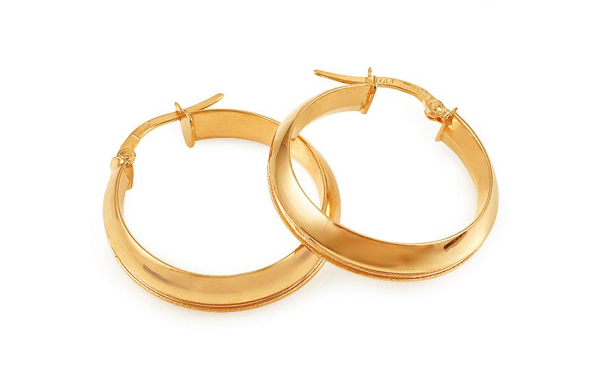 Zlaté náušnice kruhy matované 2,5 cm IZ11755