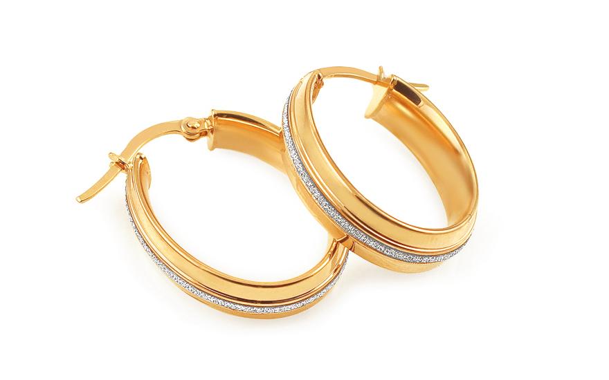 Zlaté náušnice kruhy oválné s pískováním IZ11782
