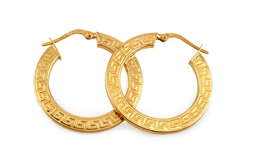 Zlaté náušnice kruhy s antickým vzorem IZ10094