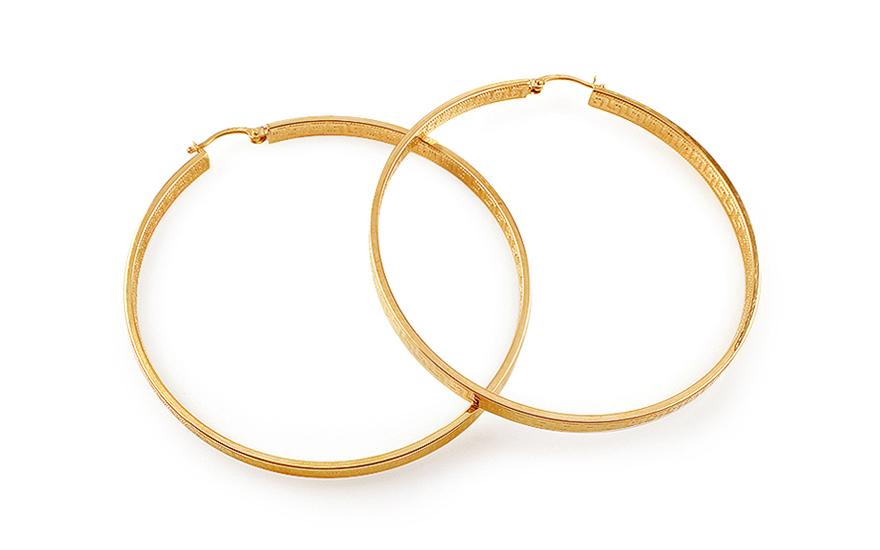 Zlaté náušnice kruhy s antickým vzorem 4,8 cm IZ11691
