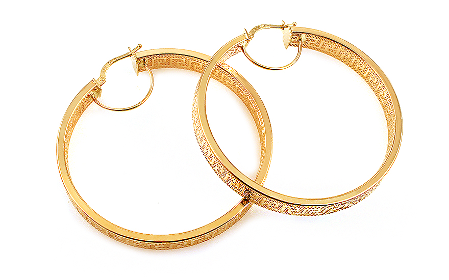 Zlaté náušnice kruhy s antickým vzorem 4,8 cm IZ11927
