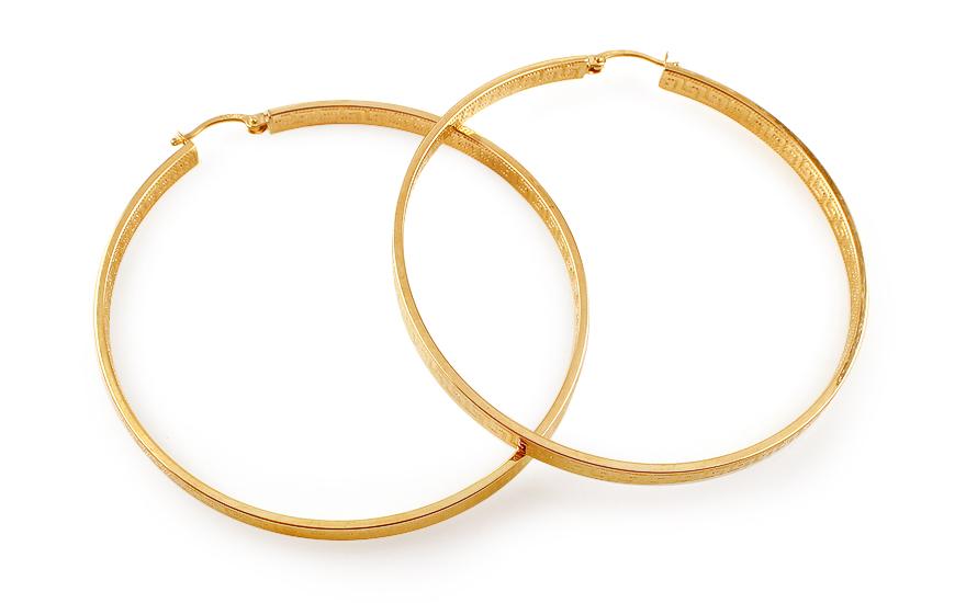 Zlaté náušnice kruhy s antickým vzorem 6 cm IZ11693