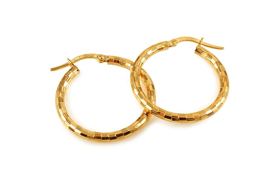 Zlaté náušnice kruhy s gravírováním IZ9943
