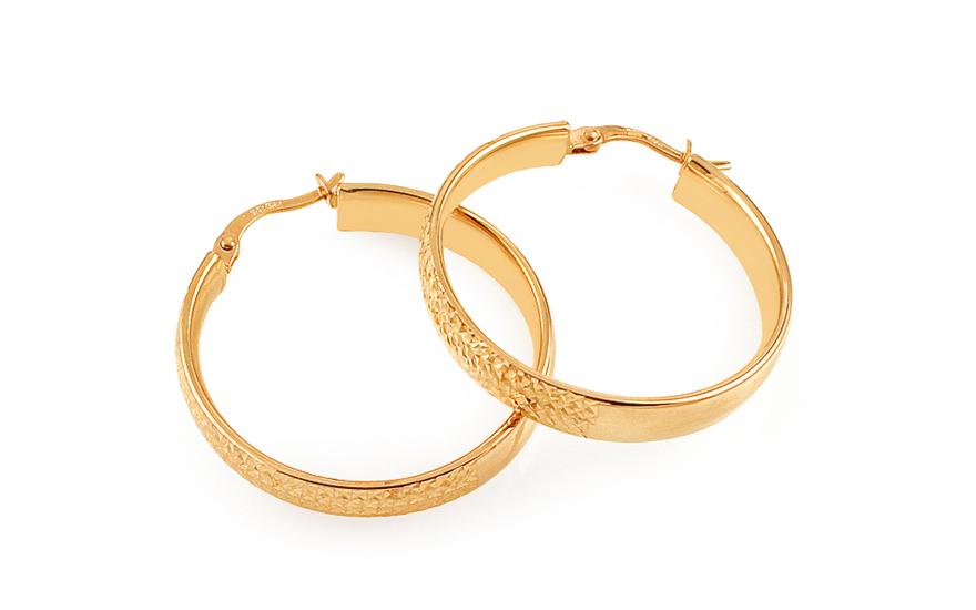 Zlaté náušnice kruhy s gravírováním 2,3 cm IZ11699M