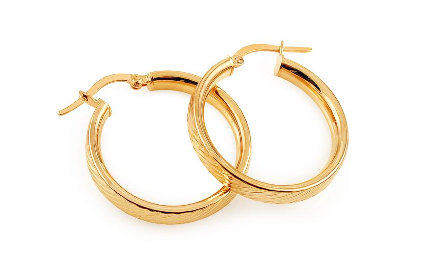 Zlaté náušnice kruhy s gravírováním 2,5 cm IZ11752