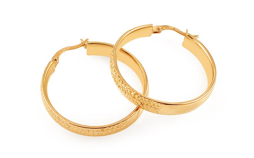 Zlaté náušnice kruhy s gravírováním 2,8 cm IZ11699